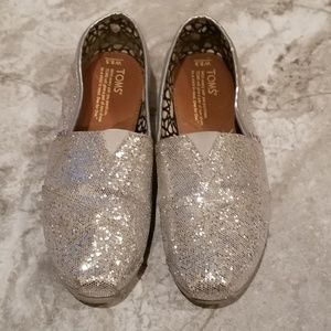 TOMS Silver Slip Ons
